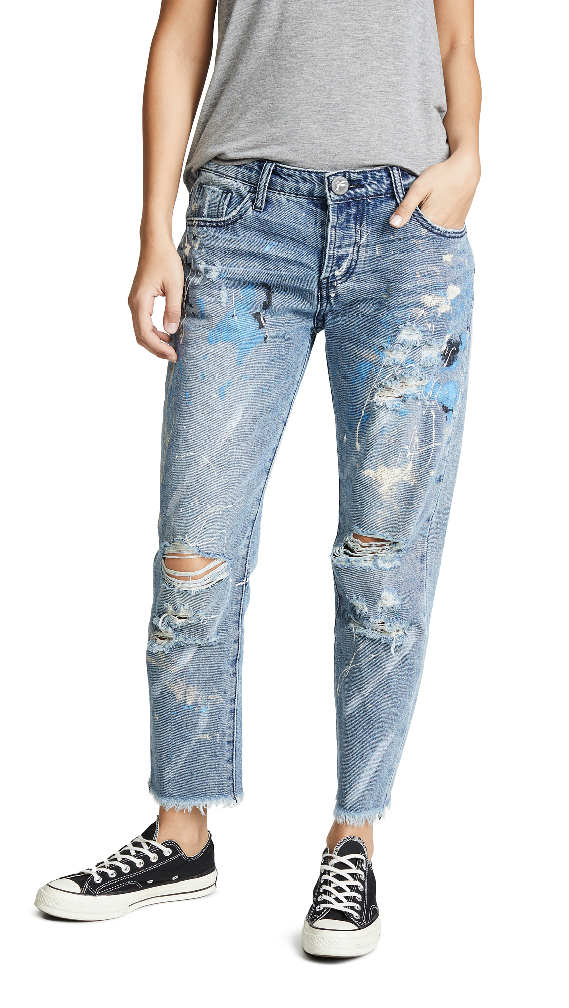ONE TEASPOON Artiste Awesome Baggies Straight Leg Jeans in Worn Blue