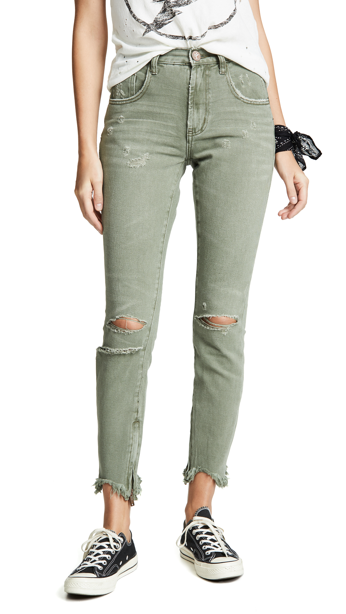 ONE TEASPOON Freebird High Waisted Jeans in Super Khaki