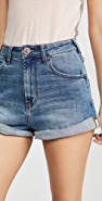 One Teaspoon Vintage Indigo High Waist Denim Shorts