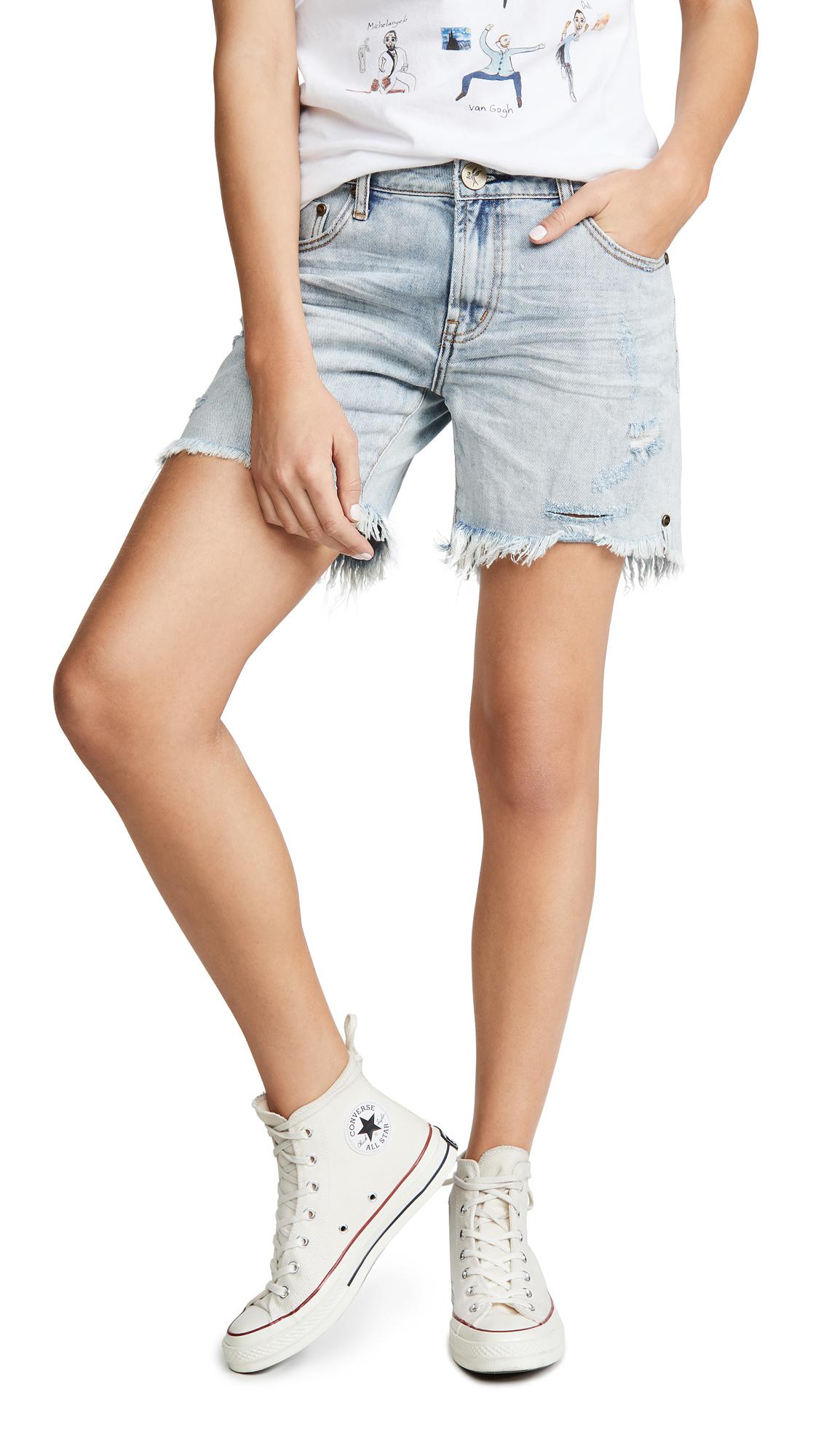 Buy One Teaspoon online - photo of One Teaspoon Stevies Long Length Boyfriend Shorts