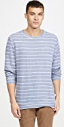 Onia Owen Slub Terry Striped Crew Neck Sweatshirt