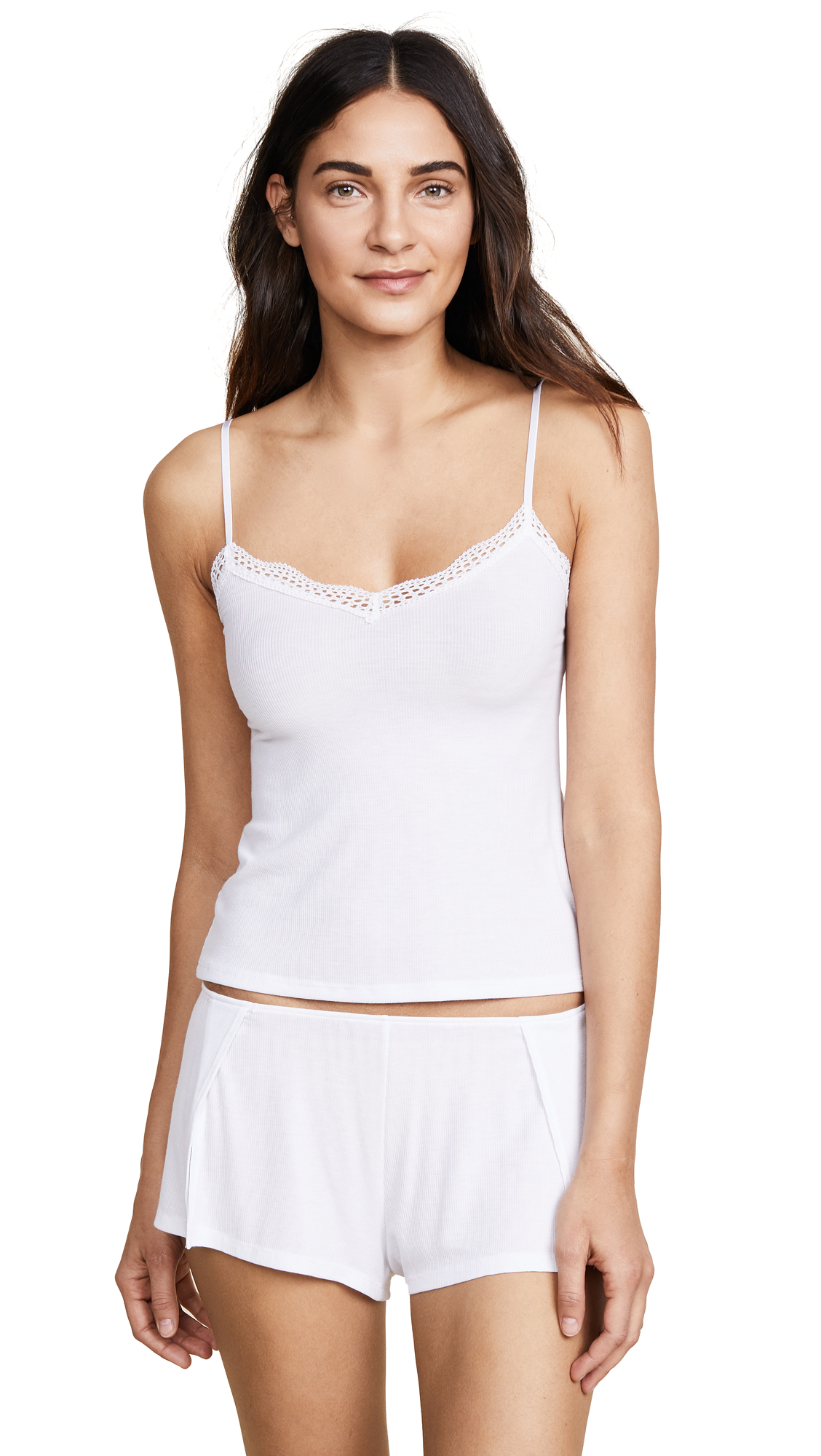 Only Hearts Feather Weight Rib Lace Trim Cami In White