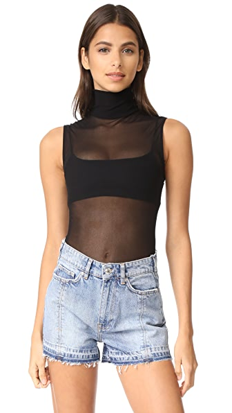 Only Hearts Tulle Turtleneck Tank In Black