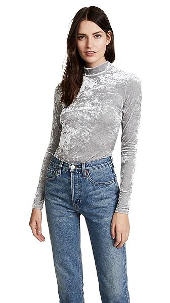 Only Hearts Velour Underground Bodysuit In Silver