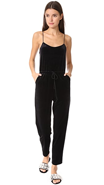 Only Hearts Velour Jumpsuit - Black