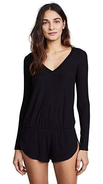 Only Hearts Feather Weight Rib Romper In Black