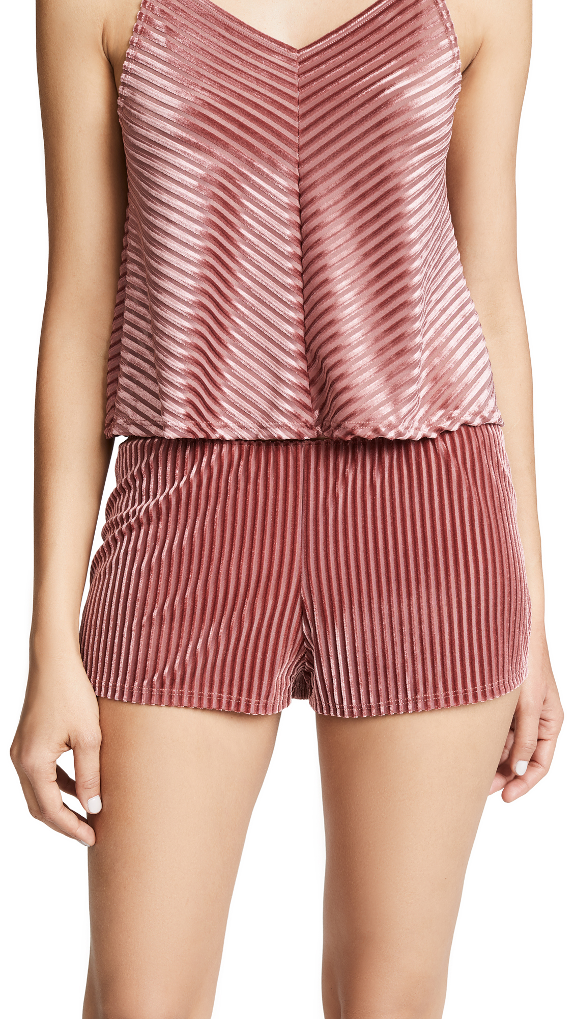 Only Hearts Velour Rib Sleep Shorts In Dusty Rose