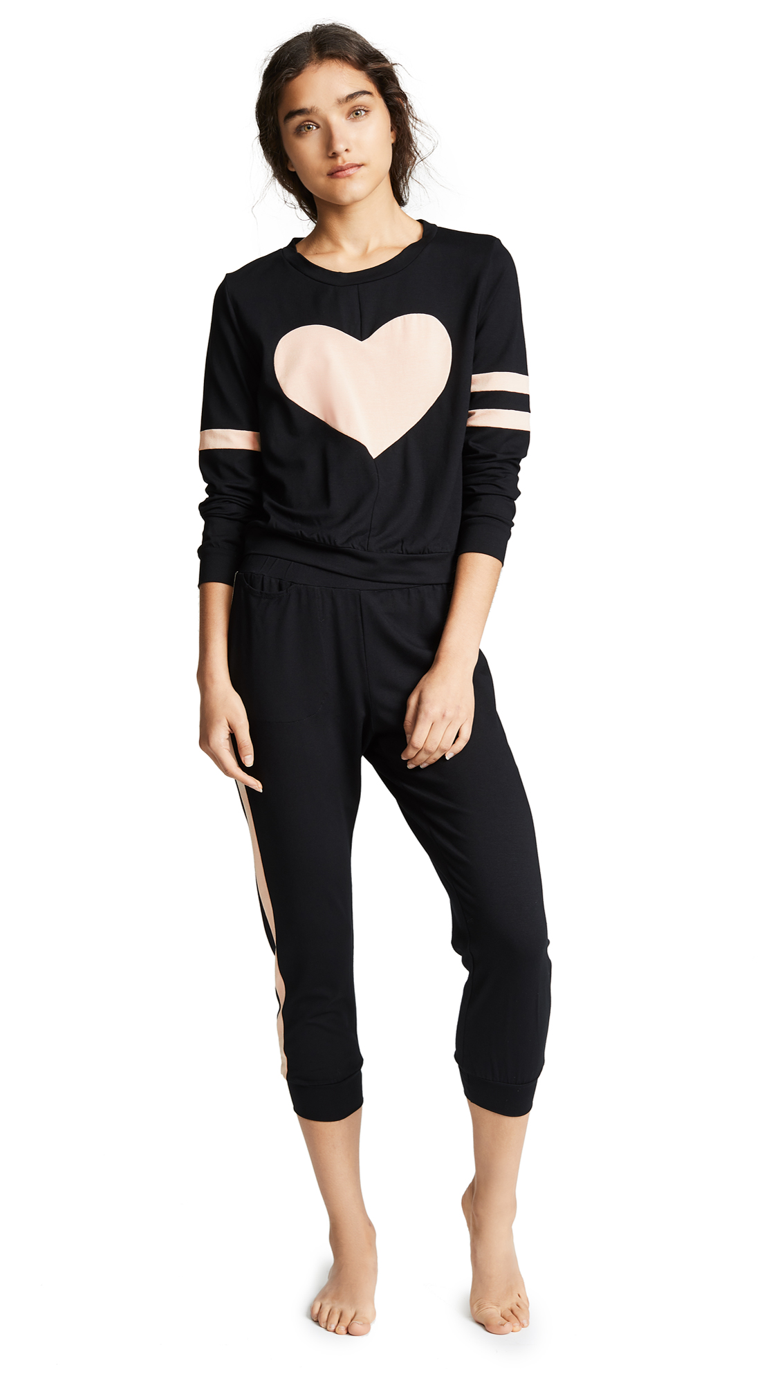 ONLY HEARTS Love Story Pj Set in Black/Nude