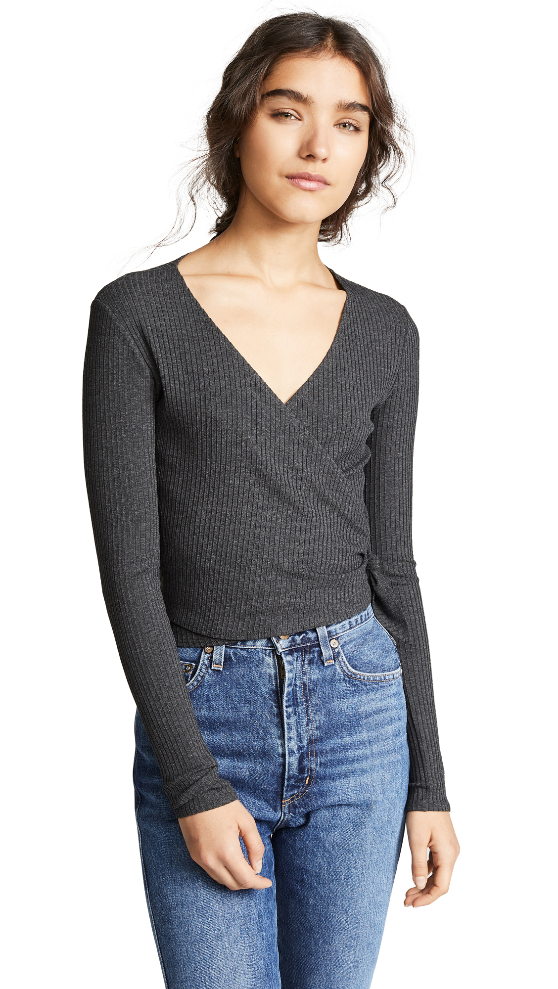 ONLY HEARTS Long Sleeve Wrap Rib Top in Carbon