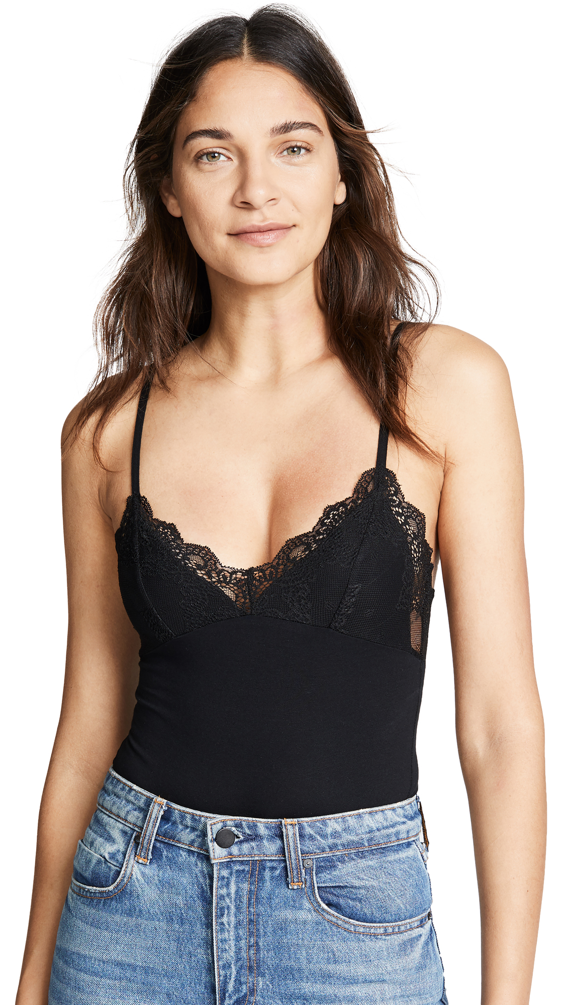 ONLY HEARTS Lined Lace Cup Bodysuit in Black