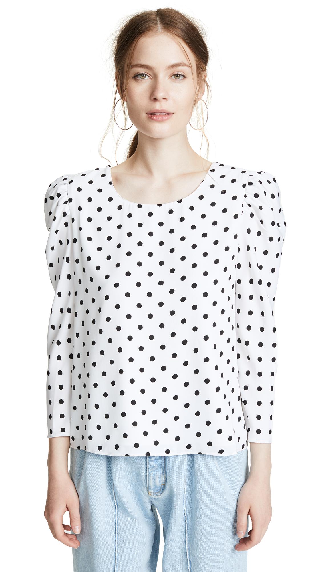 Valencia & Vine Polka Dot Blouse In White/Black Polka Dot