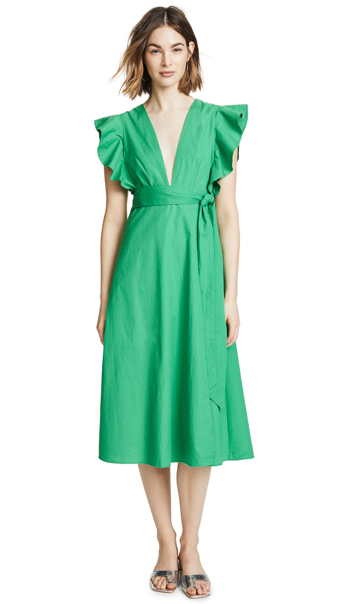 Valencia & Vine Molly Poplin Wrap Dress In Kelly Green