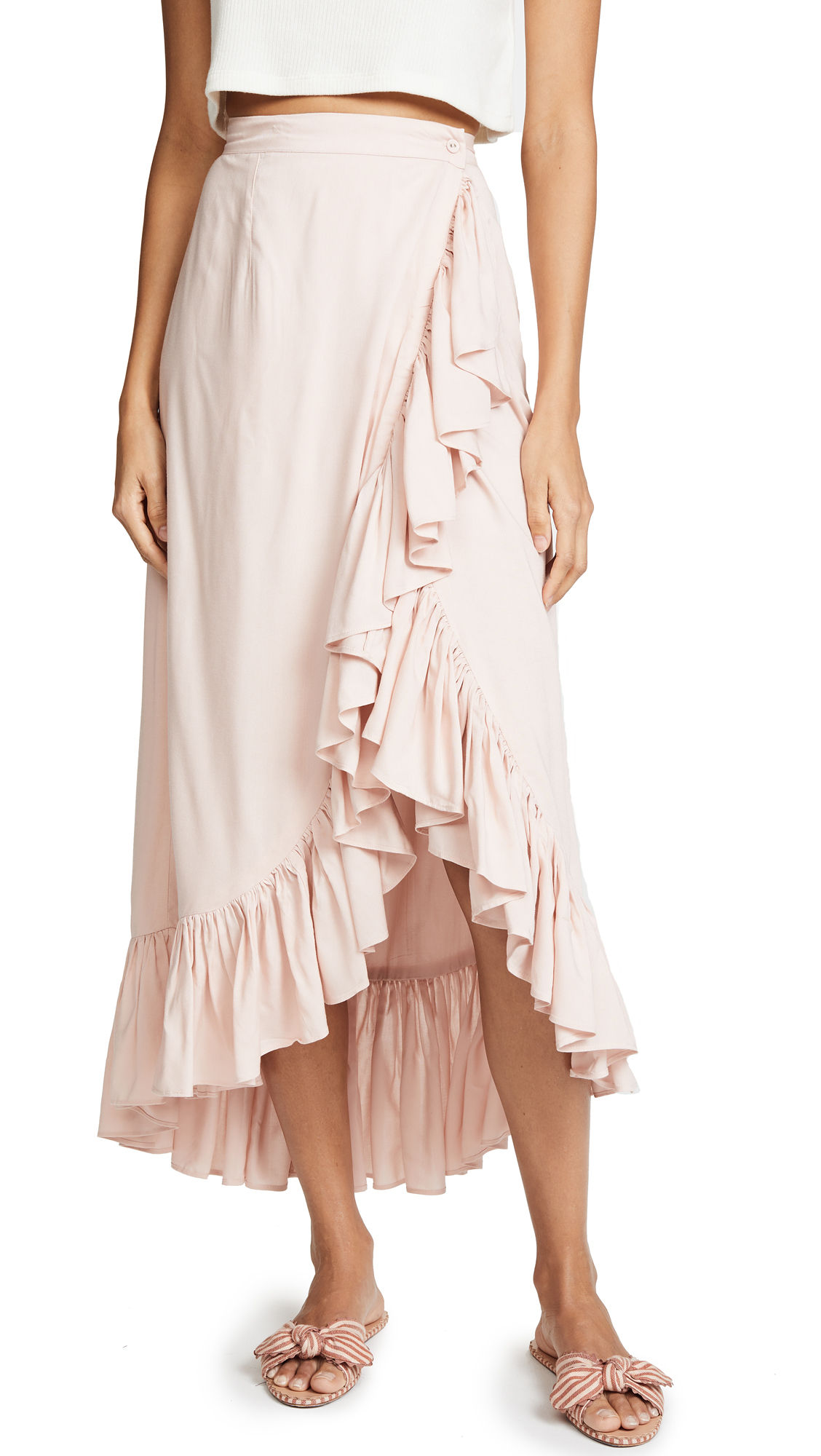 Valencia & Vine Jamie Wrap Skirt In Blush