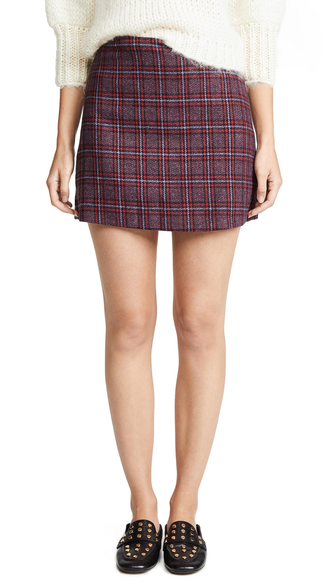 Valencia & Vine Tweed Mini Skirt In Plaid