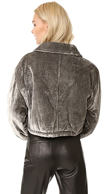 Opening Ceremony Stamped Croc Bomber Jacket