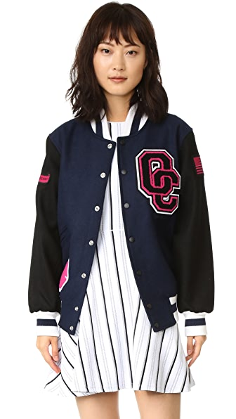 Opening Ceremony OC Varsity Jacket - Navy/Black/Dragonfruit/White