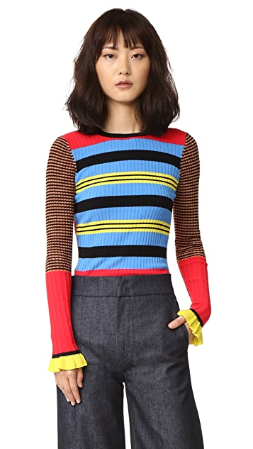 Opening Ceremony Striped Long Sleeve Crew Neck Top