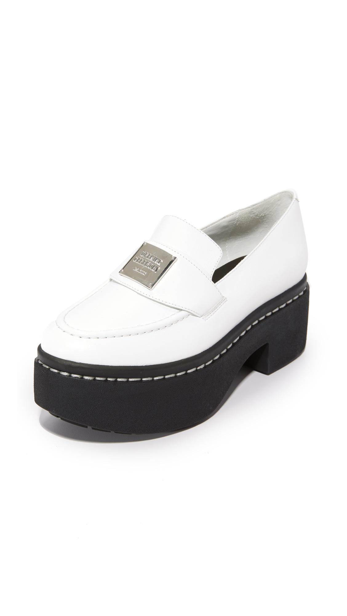 opening ceremony female opening ceremony agnees platform loafers white