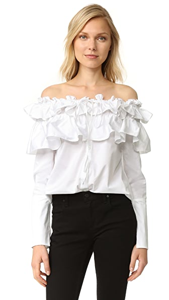 Opening Ceremony Sateen Layered Ruffle Top