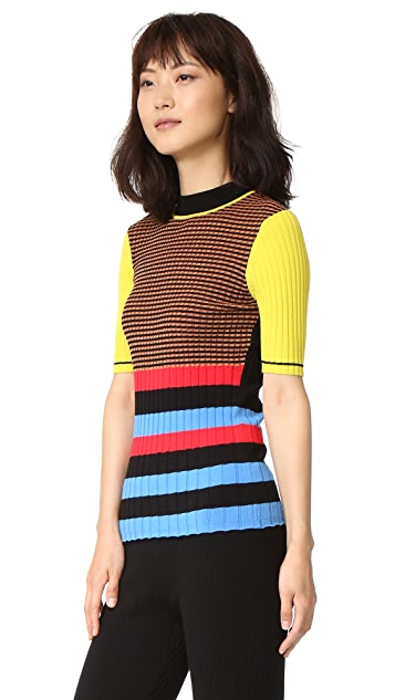 Opening Ceremony Striped Mock Neck Sweater