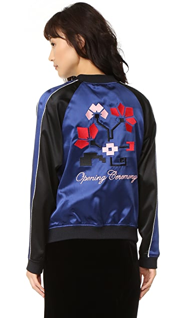 Opening Ceremony Reversible Flower Silk Bomber