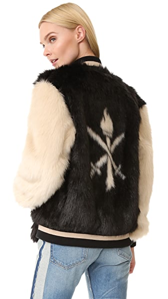 Opening Ceremony Faux Fur Varsity Jacket - Black Multi