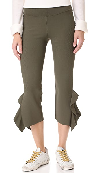 Opening Ceremony Flounce Hem Pants - Army Green