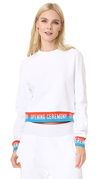 Opening Ceremony Elastic Logo Crop Sweatshirt In White