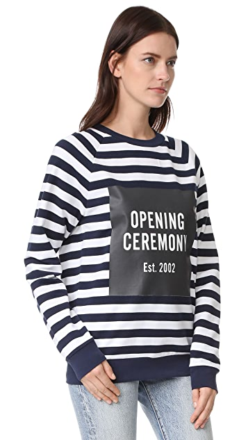 Opening Ceremony Box Logo Striped Sweatshirt
