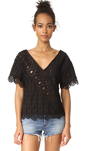 Opening Ceremony Anglaise Popover Top - Black