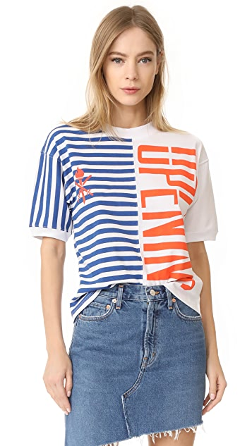 Opening Ceremony Striped Strech Logo Tee