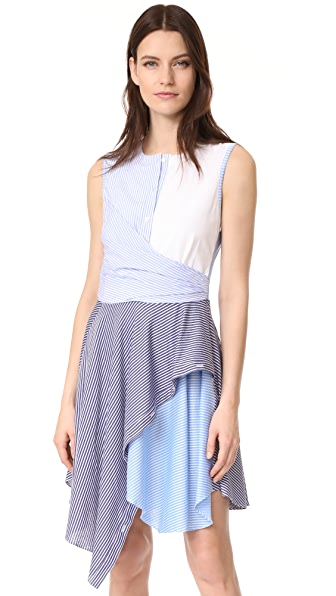 Opening Ceremony Cody Stripe Flare Dress - Pale Blue Multi