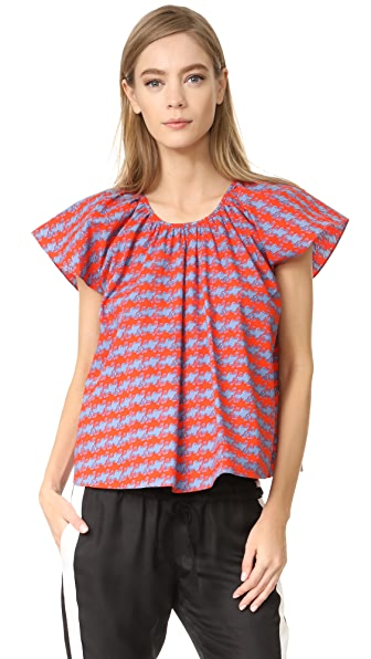 Opening Ceremony Printed Flutter Sleeve Top - Cantaloupe Multi
