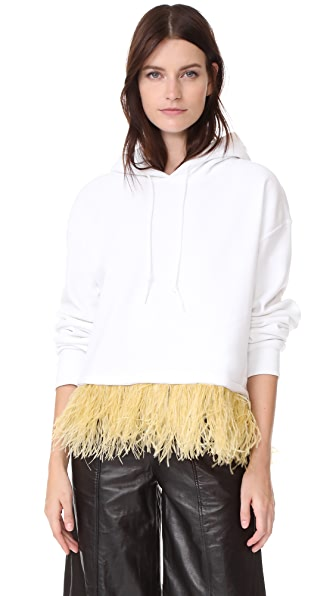 Opening Ceremony Cropped Feather Hoodie In White