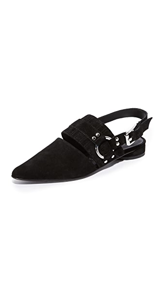 Opening Ceremony Alexx Suede Harness Flats - Black