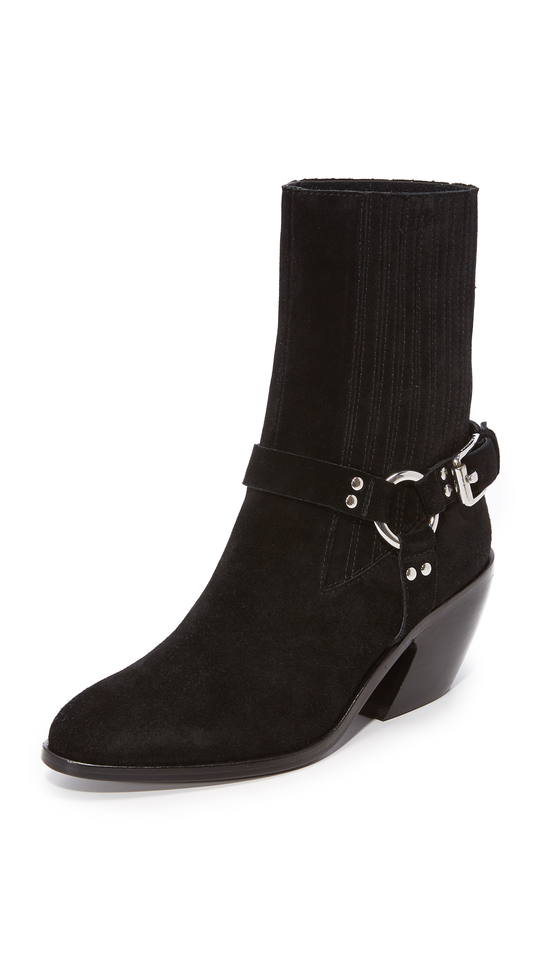 Opening Ceremony Shayenne Suede Harness Ankle Booties - Black