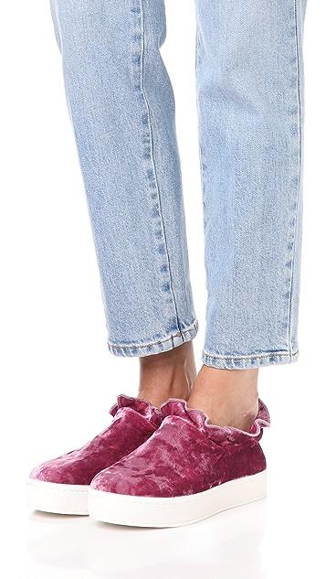 Opening Ceremony Cici Velvet Ruffle Slip On Sneakers