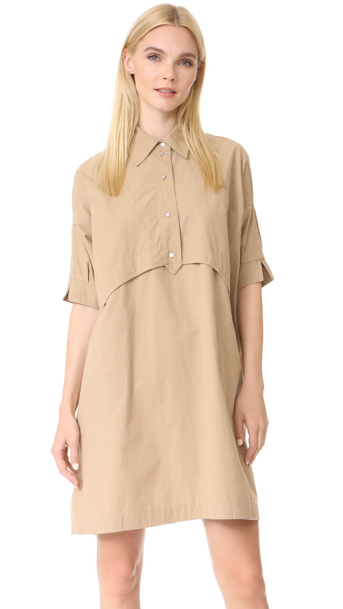 Opening Ceremony Poplin Elliptical Hem Dress - Incense