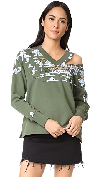 Opening Ceremony Landscape V Neck Sweatshirt - Surplus Green