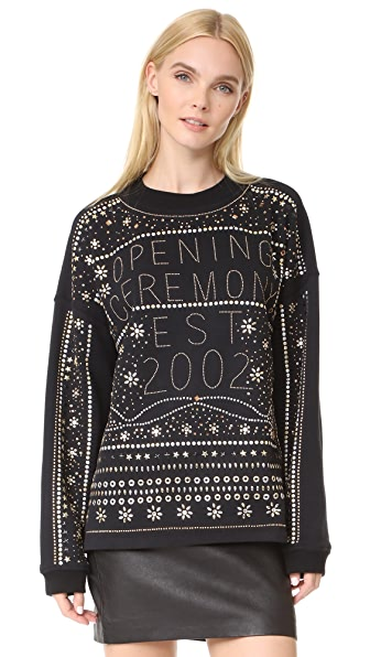 Opening Ceremony Studded Logo Sweatshirt In Black
