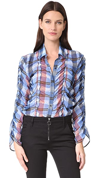 Opening Ceremony Plaid Button Down Shirt - Dust Blue Multi