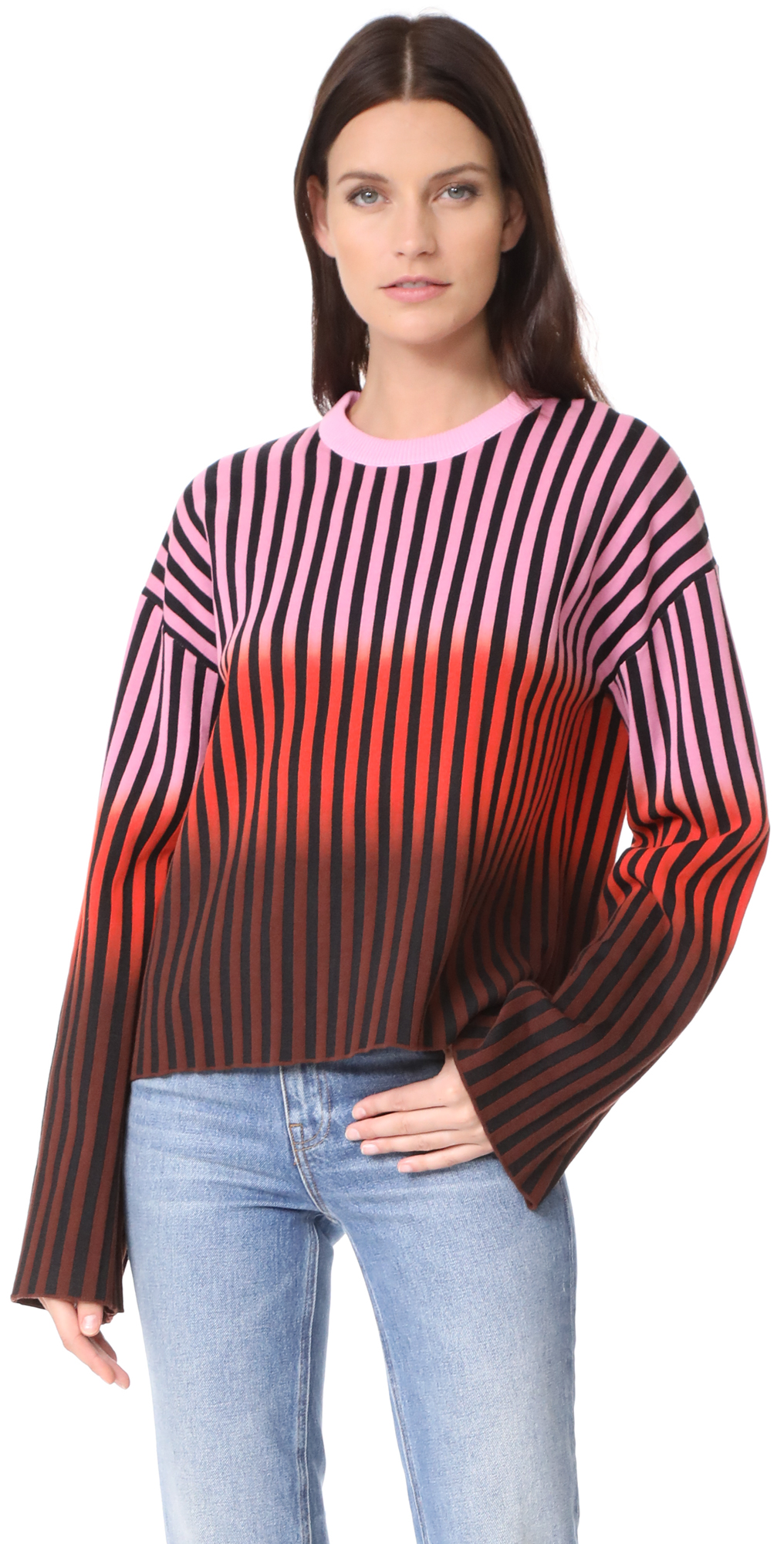 Dip Dye Striped Sweater Opening Ceremony
