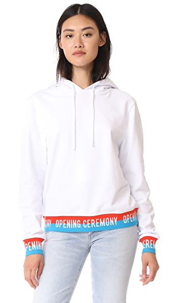 Opening Ceremony Elastic Logo Hoodie - White