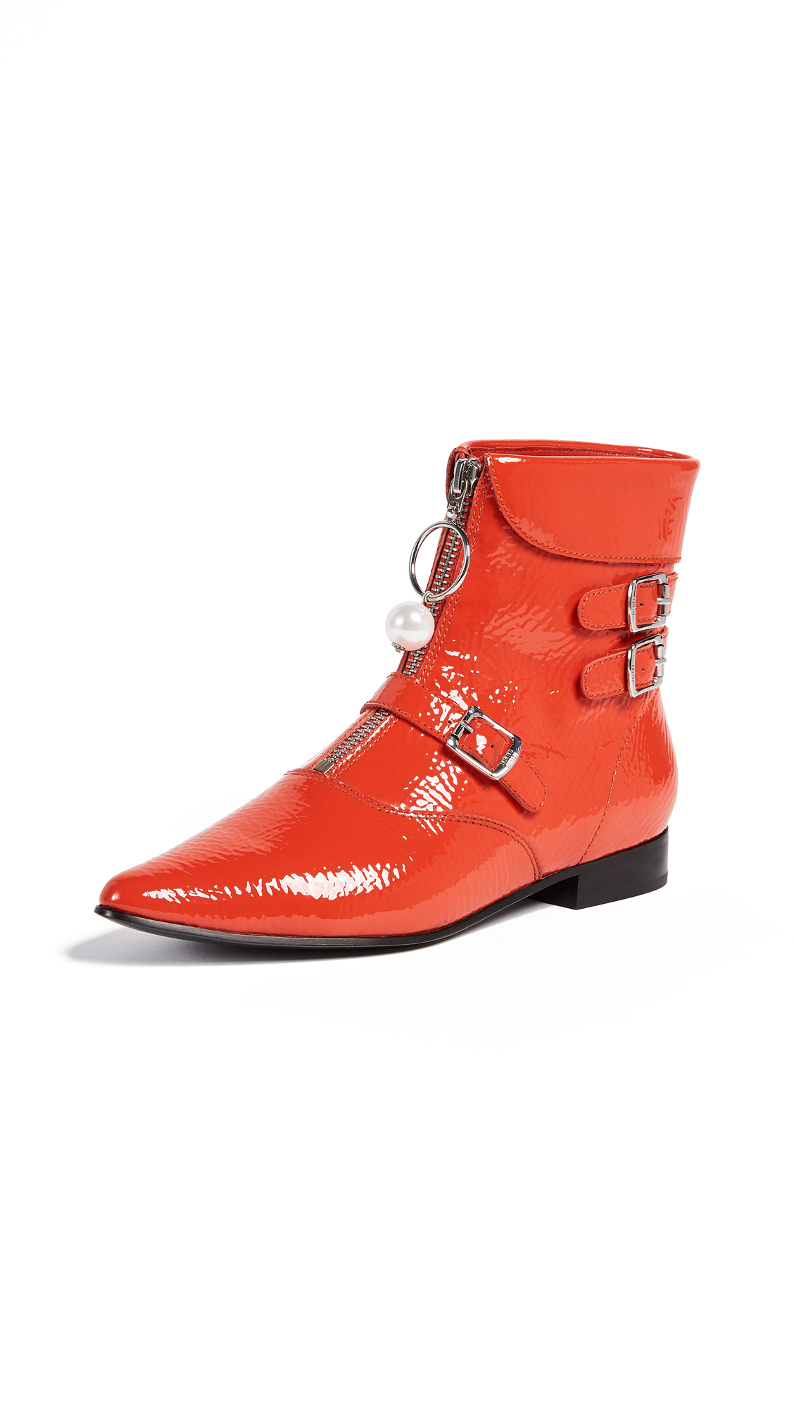 Opening Ceremony Slater Crackle Patent Booties - Jewel Red