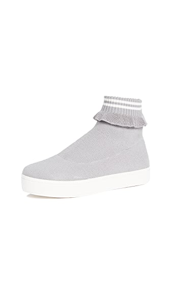 Woman Ruffle-Trimmed Stretch-Knit Platform High-Top Sneakers Gray in Heather Grey