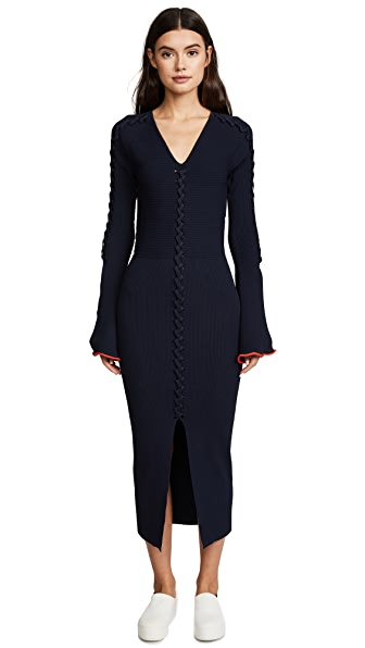 Opening Ceremony Crisscross Long Sleeve Dress In Collegiate Navy