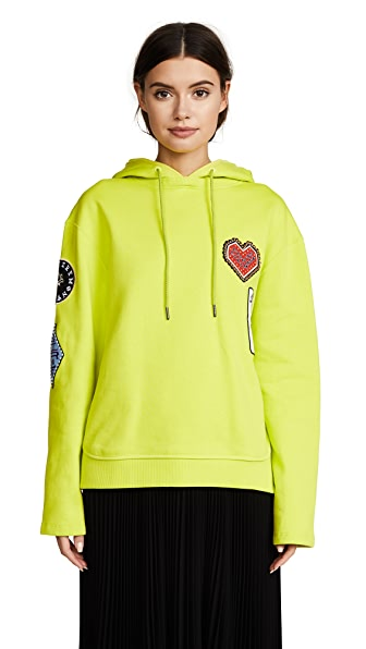 Opening Ceremony Sorority Patch Hoodie In Acid Green