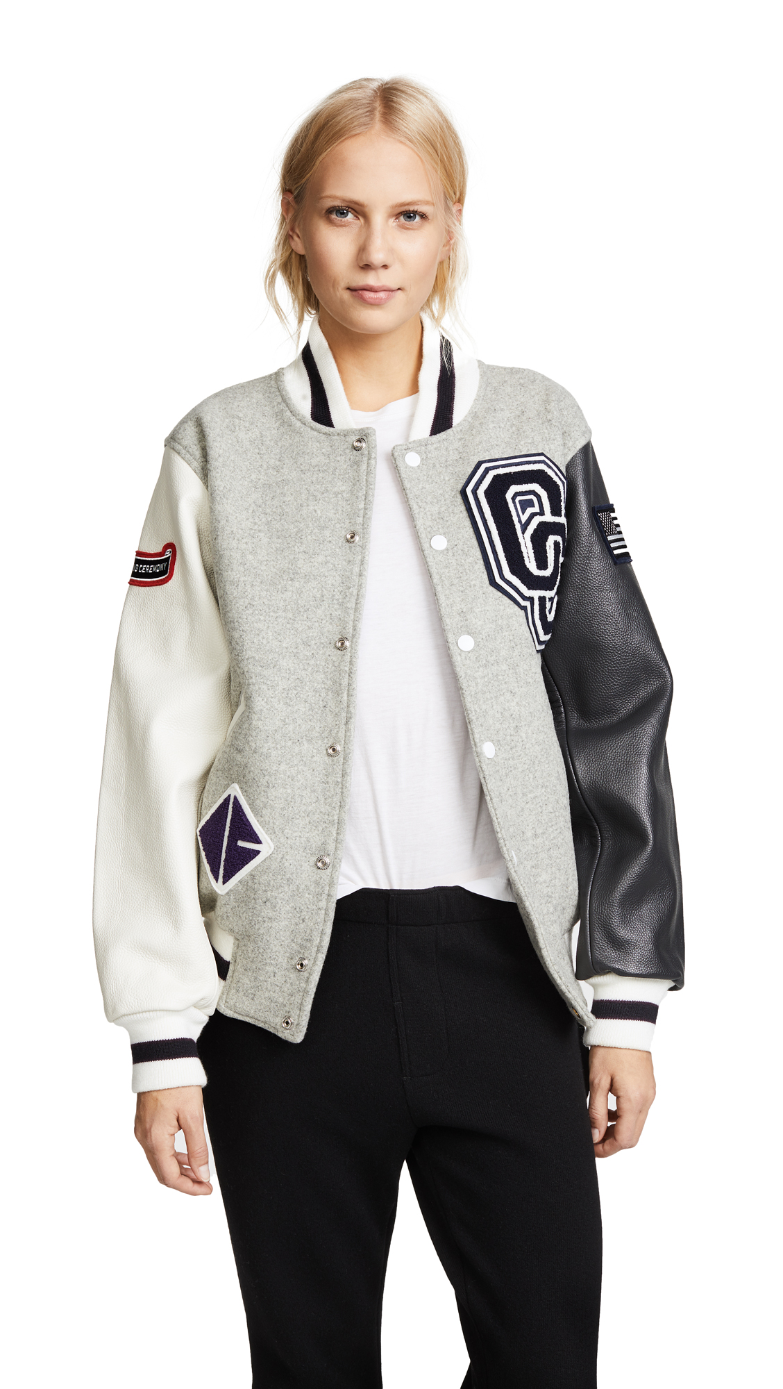 Opening Ceremony OC Classic Varsity Jacket In Light Grey Multi