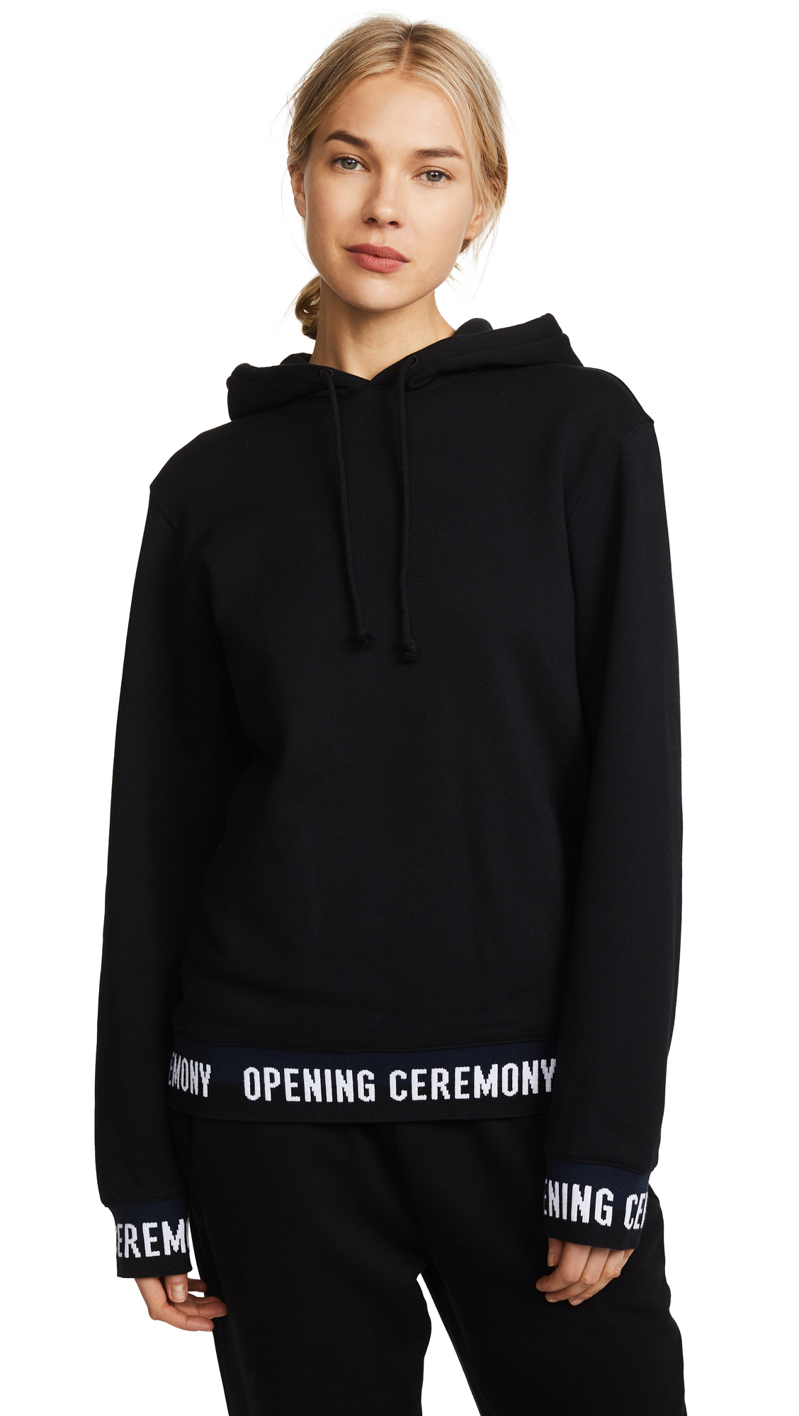 Opening Ceremony Elastic Logo Hoodie In Black