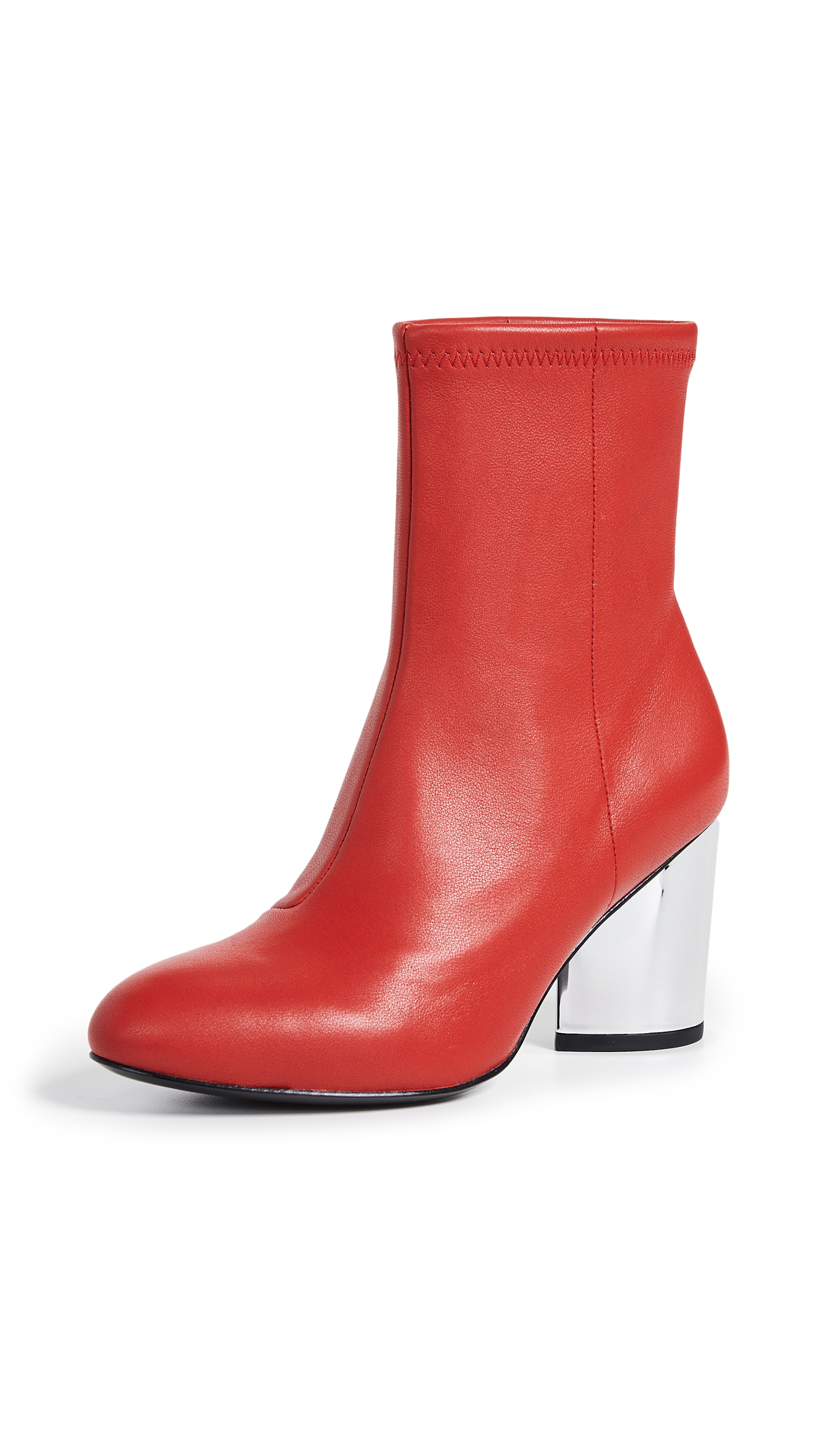 Opening Ceremony Dylan Stretch Leather Booties - Vixen Red